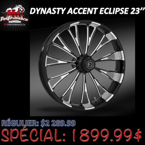"""23"""" DYNASTY ACCENT ECLIPSE FRONT WHEEL HARLEY DAVIDSON"""